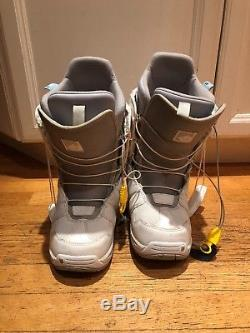 57 Burton Feather Snowboard, Burton bindings, snowboard boots, and case