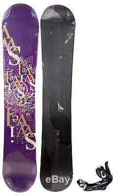 $600 Womens Swivel Purple Logoblast Snowboard +Bindings 145CM Ladies Camber Ride