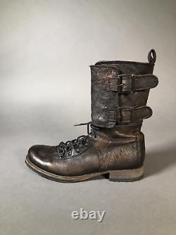 All Saints Damisi Combat Military Brown Leather Boots Women Size 38