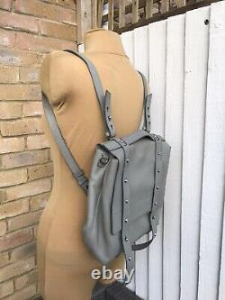 Allsaints All Saints SID stud grey leather large backpack /shoulder bag MINT