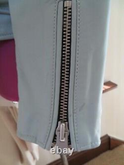 Amazing All Saints Balfern Biker Leather Jacket Mint Green Size 12 BNWOT