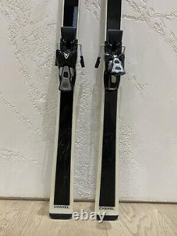 Authentic CHANEL Womens Skis White & Black Ski 160 cm With Case Bag RRP $12,500