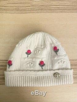 Authentic Chanel Beanie Cashmere White Coco Logo One-size-fits-all Size Mint