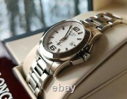Beautiful Longines Conquest Ladies Watch White Dial All Boxes & Papers Mint Cond