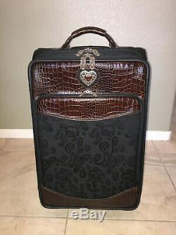 Brighton Brown/black 22 Carry On Rolling Luggage! Mint! All Accessories