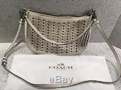 Coach All Over Studs Chelsea Crossbody Handbag Chalk #37036 Near MINT