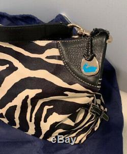 Dooney & Bourke All Leather Zebra Print Tote Shoulder Handbag w Storage Bag MINT