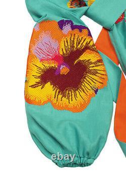 Embroidered ukrainian mint short dress boho folk ethnic vyshyvanka. All sizes