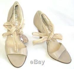 Galliano Sandals Heels 4 1/8in all Leather Beige 37 Italian 38 Fr Mint