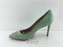 Gucci Women's Studded Mint Green All Leather Heels 38.5