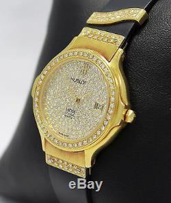 Hublot MDM 18K Yellow Gold All Factory Diamonds Rare Vintage Lady's Watch MINT