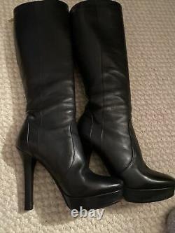Jimmy Choo Black Knee HIGH PLATFORM All Leather BOOTS Back Zipper Mint Sz 38.5