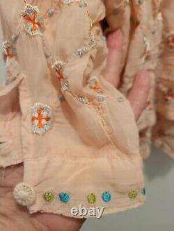 Johnny Was Peach Multi All Over Embroidered Blouse Topper MINT Large Fits L-XL