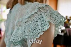 Lim's Vintage Intricate & Delicate All Hand Crochet Maxi Dress Mint One Size M