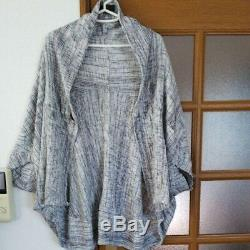 Mint MOYURU ART MIX Jacket Cardigan White Gray 100% Cotton All Seasons Japan
