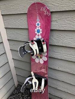 NEW 138cm Gidget Flower Girl Snowboard with Lightly Used 5150 (K2) Med Binding