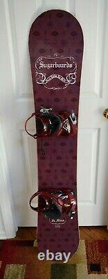 New Sims Sugarboards Snowboard Size 151 CM With Large Ride Bindings