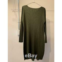 PLEATS PLEASE issey miyake dress long sleeve khaki green one size fits all MINT