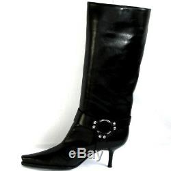 Sergio Rossi Boots Heels 7 cm all Leather Black 38 Itl / Mint