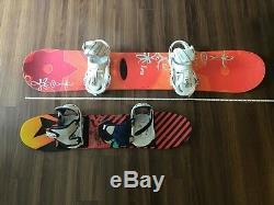 Set of 2K2 Woman and Burton kid Snowboards and Bindings + K2 carrying bag