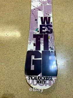 Westige White Party Snowboard Camber Cap All Mountain 160cm with Burton Sticker