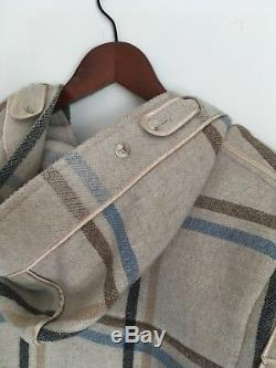 Women's Aquascutum Wool Duffle Coat All Check Size L Mint Rare Made in England