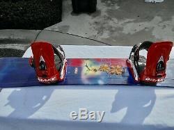 Women's Lamar Reflection Snowboard 144cm Drake Medium Bindings Nice Board