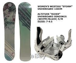 Women's Westige Storm Snowboard 150cm +altitude Rider Bindings (white) S/m 7-9.5