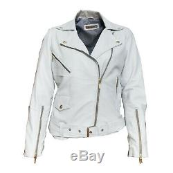 Womens Classic Cropped Biker White Lamb Moto Real Leather Jacket All Sizes