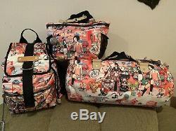 Wow! Rare Lesportsac Tokidoki Citta Rosa Tote Bag Handbag Backpack All 3 Mint